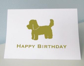 Miniature Labradoodle Birthday Card - Happy Birthday - Gold Foil