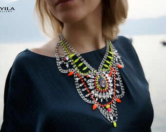 ULTIMATE SALE Madame Bovary - Stunning Neon Painted Swarovski Crystals Summer Statement Necklace