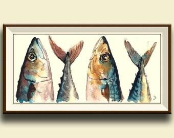 PRINT-Mackerel fish fishes watercolor print  - Art Print by Juan Bosco