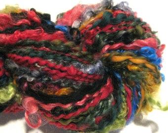 Handspun Yarn Random Acts of Fiber 170 yards rainbow black handdyed merino wool mohair locks art yarn spiral plied knitting supplies crochet