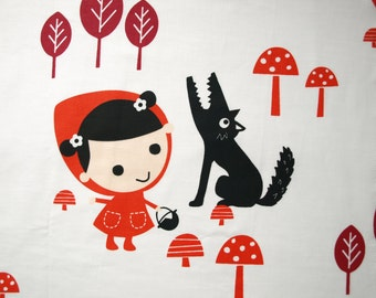 Fabric Red Hood and wolf in the forest Cotton Fabric Kids Fabric Scandinavian Design Scandinavian Textile