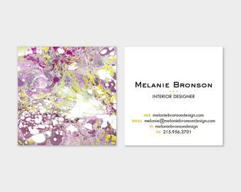 Marble Calling Cards | Magenta Purple Violet Chartreuse |  Business Cards | Blogger Cards | Set (50)