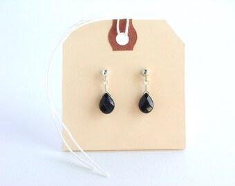 Dark Blue Goldstone Teardrop Post Earrings / Simple Teardrop Earrings / Genuine Stones / Sterling Silver Posts / Simple Earrings / Dark Blue