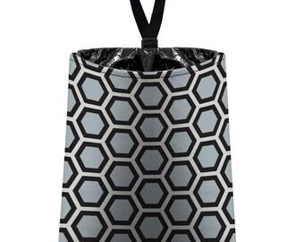 Car Trash Bag // Auto Trash Bag // Car Accessories // Car Litter Bag // Car Garbage Bag - Honeycomb black grey silver // Car Organizer