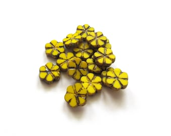Rustic Sunny Yellow Flat Czech Glass Flower Beads with Picasso Finish, 10mm - 15 pieces