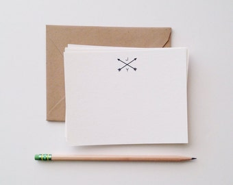 Arrows & Initials Flat Note Card Set
