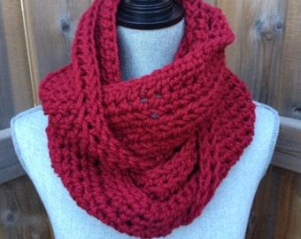 Super Long Crochet Infinity Scarf Triple Loop Soft Scarf in Raspberry