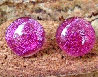 Pink Dichroic Earrings, Fused Glass Earrings, Glass Button Earrings, Pink Post Earrings, Pink Glass Earrings