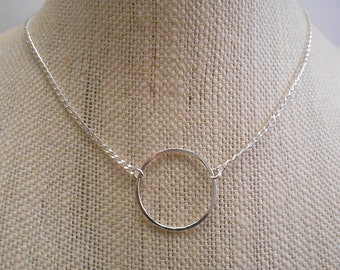 Sterling Silver Circle Necklace / Layering Necklace / Delicate Silver Necklace N-87