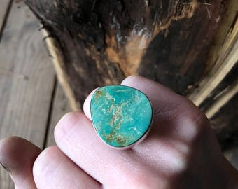Stormy Mountain Turquoise Ring made with .925 Sterling and Fine Silver SIZE 5 Handmade Jewelry for the free spirit stone lover