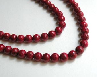 Red Riverstone beads round gemstone 6mm full strand 4288GS