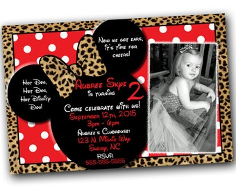 SALE Red Cheetah Minnie Mouse Invitations with FREE Thank you card