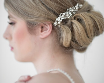 Wedding Hair Comb,  Bridal Headpiece, Crystal Pearl Hair Comb, Pearl Bridal Comb, Wedding Hairpiece