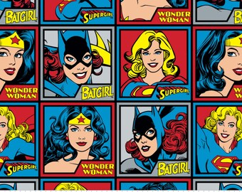 Girl Power Blocks Wonder Woman Super Girl Fleece Fabric by the Yard