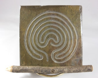 LABYRINTH STONE: Carved Troy Pathway (Single Path) - Finger Maze Meditation Tile - Hand Carved Slate Stone Stone - 7 Circuit Cretan