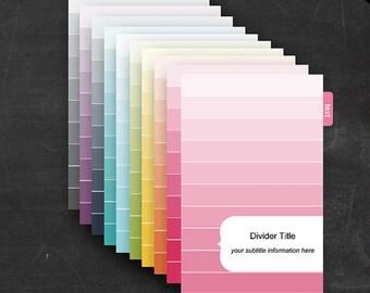 Mini Binder Dividers - Printable Editable Rainbow Ombre Theme Half Page Size - Home Organization Business Organization Classroom Homeschool