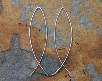 Fish Hoop Earrings, Sterling Silver 2 Inch, Artisan Hammered Fish Hoop Earrings