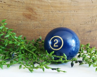 Vintage phenolic billiard ball, 2 1/4 inch no. 2 striped resin pool ball