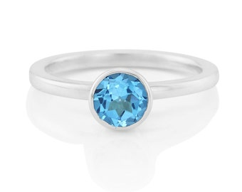 Sterling Silver Blue Topaz Solitaire Ring