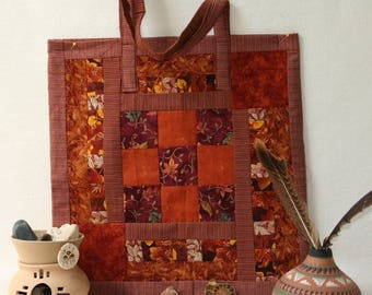 Woodland Fall Leaves and Salmon Velveteen Bags