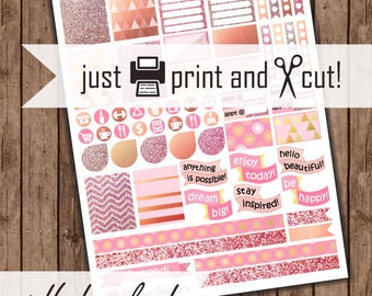 Rose Gold Planner Stickers, Printable Download, Modern Geometric Sticker Kit