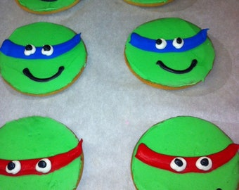 Turtles Decorated Sugar Cookies, Green Ninja Cookie, Round Decorated Cookies, Turtle Kids Party, Birthday Party Favors, Frosted, Iced Favor