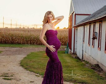 "Plum Lace Maternity Gown ""Mermaid"" Slim Fit Maternity Dress, Maternity Dress, Maternity Photo Props"