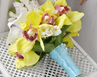 wedding bouquet PU real touch artificial flower calla,hyacinth,funglu