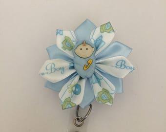 Baby Boy ID badge holder, Retractable ID holder