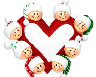 Heart with Faces 8 Personalized Christmas Ornament