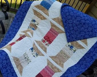 Tall Spool Quilt, Lap Quilt, Spool Quilt, Handmade Quilt