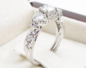 Three Stone Moissanite Engagement Ring Unique Engagement Ring in 14K White Gold 0.5CT Forever Brilliant Moissanite Ring