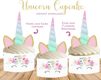 UNICORN Birthday party decorations cupcake topper and wrapper set with horn, ears, eyes Unicorn birthday baby shower instant download