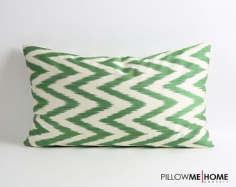 Green ikat pillow cover, Double side, zigzag chevron pillow, 16x26 silk pillows, decorative lumbar pillow, ikat bedding
