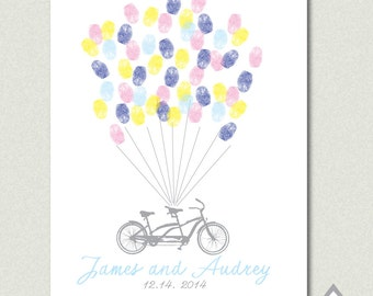 Tandem Bike Fingerprint Guest Book, Wedding thumbprint guestbook, Bike and Balloon Fingerprint sign in, Printable PDF, DIY Guestbook