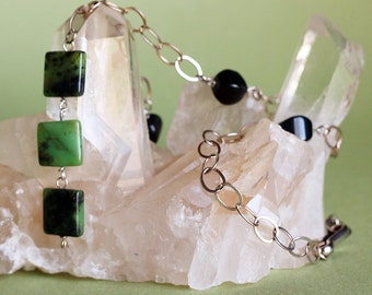 Green Serpentine and Black Obsidian Y Necklace