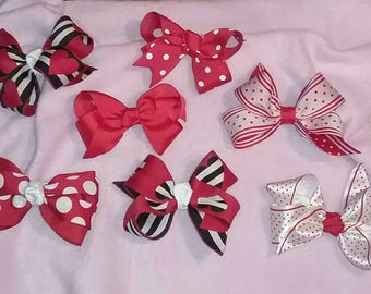 Red hearts boutique bow collection set of 7, boutique bow, heart bow, girl's hair bows