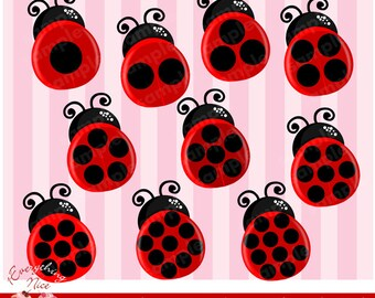 Counting Ladybugs Clipart Set