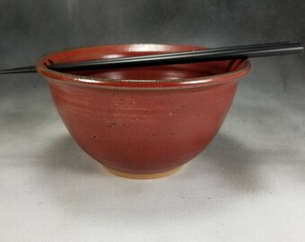 Chopstick Noodle Bowl in Red, Rice Bowl, Soup Bowl, Pho Bowl, Stir Fry Bowl 24 oz Bowl 3 Cup Bowl Wheel Thrown Stoneware Pottery Bowl