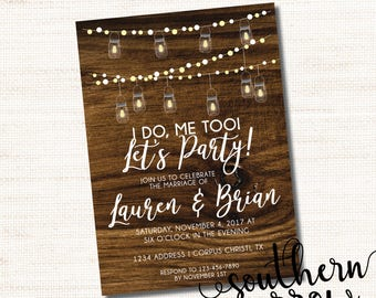 5x7 I Do - Rustic Wood Mason Jar String Lights Reception Only Wedding Invitation - PRINT AT HOME