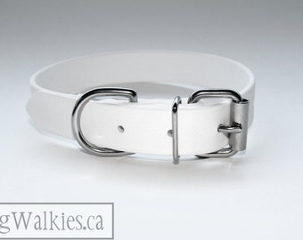 """Biothane Dog Collar - Snow White 1"""" (25mm) Wide Biothane - Solid Brass or Stainless Steel hardware - leather look and feel - Waterproof"""
