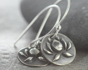 Lotus Flower Earrings, Yoga Jewelry, Buddhist Buddha Enlightenment, No Much No Lotus, Sterling Silver Handmade