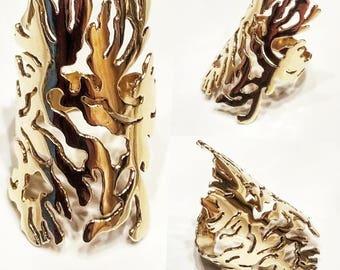 Bague corail doré