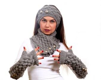 Strickschal, stricken lange Handschuhe und ein Stirnband Hand Set in grau von Solandia, Winter-Mode