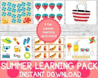 Summer Learning Pack, Preschool Pack, Summer Learning, Summer School,Summer Activities, Instant Download