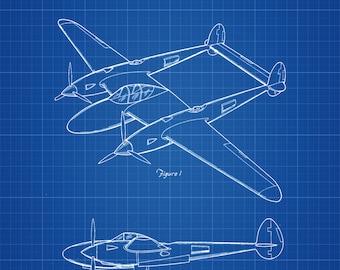 Lockheed P-38 Lightning Airplane Patent - Vintage Airplane, Airplane Blueprint, Airplane Art, Pilot Gift,  Aircraft Decor, Airplane Poster,