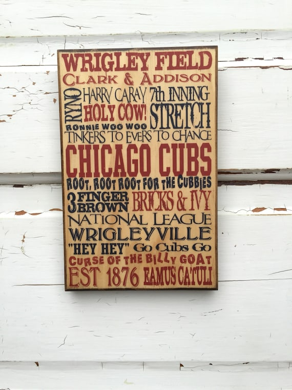 Chicago Cubs Baseball Art, Gift For Dad, Gift for Him, Cubs Sign on Wood, Cubs Baseball Phrases, Cubs Baseball Decor For Boyfriend, Cubs Fan