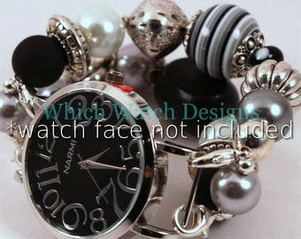 Gray Black Jumble.. Chunky Grey Resin,  Wood and Pearl Interchangeable Beaded Watch Band