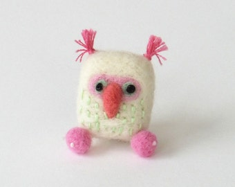 Felt owl brooch, miniature needle felted bird pin - white, pink and apple green, woodland brooch, gift for owl lovers