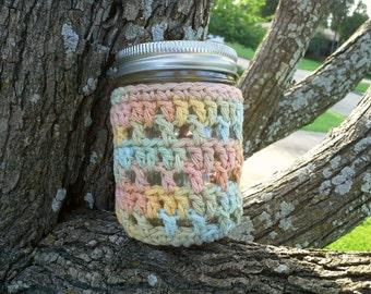 Half Pint Mason Jar Cozy - 8oz Sized Jar Cover - Crochet Jar Cozy - Luminary Cover Cotton, Pastel Colors, Food Gift Idea - READY TO SHIP